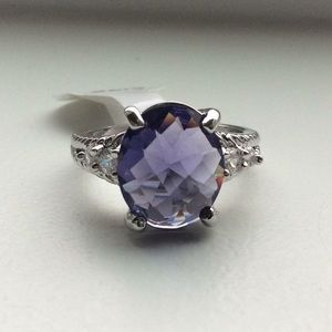 💜 Amethyst & white sapphire ring in solid 925💜